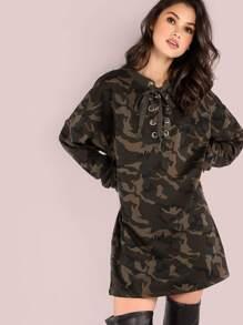 Oversized Lace Up Long Sleeve Shirt Dress CAMOUFLAGE