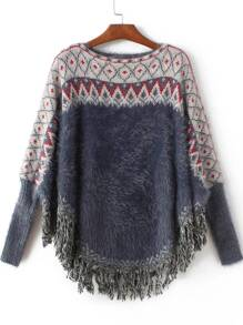 Navy Geometric Fringe Poncho Mohair Sweater