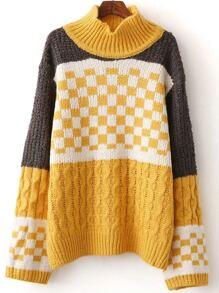 Color Block Mock Neck Check Sweater
