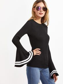Black Striped Bell Sleeve Ribbed T-shirt