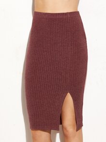 Burgundy Split Front Ribbed Pencil Skirt