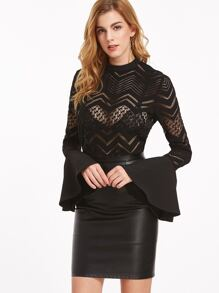 Black Button Back Bell Sleeve Sheer Chevron Blouse
