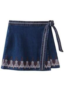 Blue Embroidery Denim Skirt With Tie