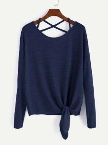 Dark Blue Drop Shoulder Criss Cross Tie Front T-Shirt