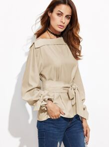 khaki Foldover Boat Neck Belted Waist And Cuff Blouse