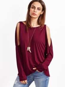 Burgundy Open Shoulder Draped Back T-shirt