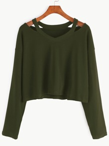 Army Green Cut Out Neck T-shirt