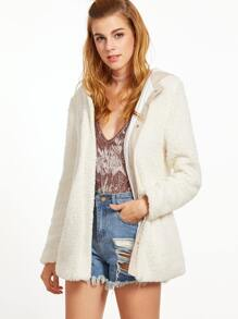 White Button Up Fluffy Fleece Hooded Jacket