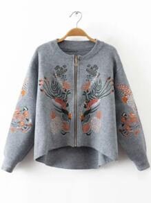 Grey Embroidery Zipper Up High Low Sweater Coat