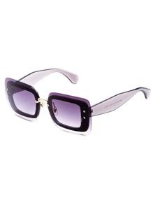 Oversized Wide Legs Purple Lens Sunglasses
