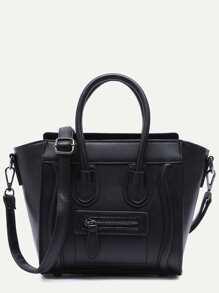 Black Zip Trim Faux Leather Handbag With Strap