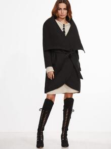 Black Shawl Collar Wrap Coat With Belt