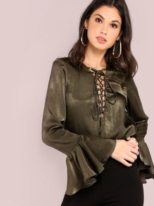 Pearl Satin Lace Up Blouse OLIVE
