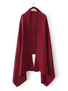 Burgundy Ribbed Plain Elegant Shawl Scarf