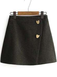 Heart Button Side Zipper Wrap Skirt