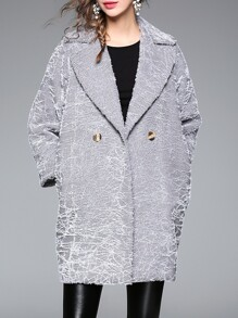 Grey Lapel Applique Pouf Pockets Coat
