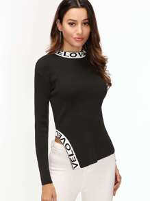 Black Ribbed Letter Pattern Asymmetric Sweater