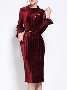 Burgundy Velvet Belted Pleated Sheath Dress
