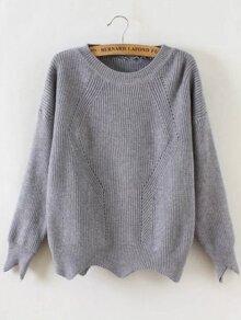 Grey Round Neck Asymmetrical Trim Sweater