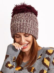 Marled Ribbed Big Pom Pom Knit Beanie Hat