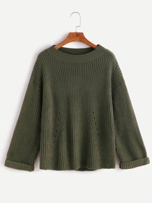Army Green Drop Shoulder Hollow Cuffed Frayed Sweater