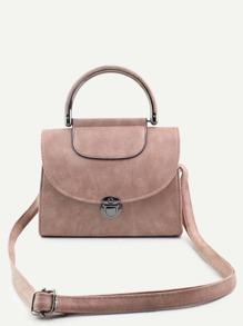 Pink PU Pushlock Closure Flap Handbag With Strap