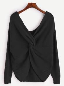Black V Neck Knot Sweater