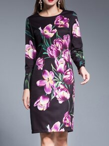 Purple Flowers Print Sheath Dress