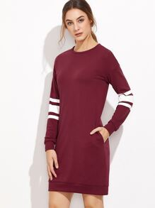 Burgundy Varsity Striped Sleeve Sweatshirt Dress