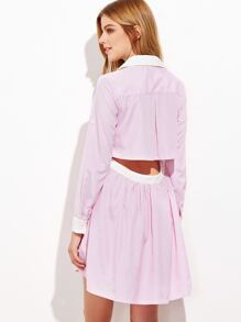 Pink Contrast Collar And Cuff Open Back Shirt Dress