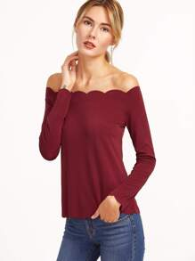 Burgundy Off The Shoulder Scallop Top