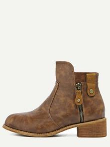 Brown Faux Leather Zip Trim Cork Heel Booties