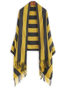 Black And Yellow Striped Fringe Trim Scarf