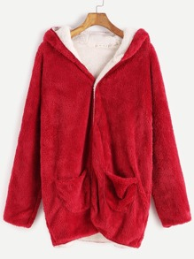 Red Hooded Fuzzy Coat With Pockets