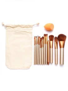 12Pcs Gold Professional Makeup Brush Set with Canvas Bag