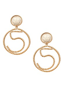 Gold Plated Hollow Circle Spiral Carved Drop Earrings