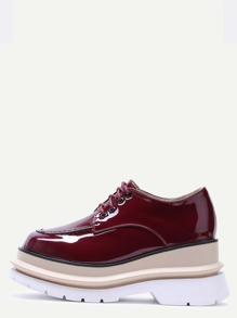 Burgundy Patent Leather Lace Up Flatform Shoes