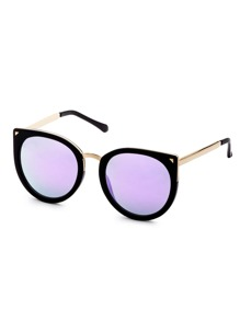 Black Metal Trim Purple Lens Cat Eye Sunglasses