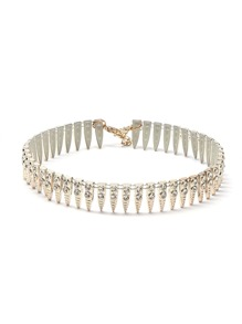 Metal Spike Rhinestone Studded Statement Choker Necklace
