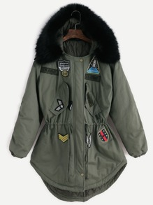 Patches Drawstring Hooded Parka With Removable Faux Fur Collar