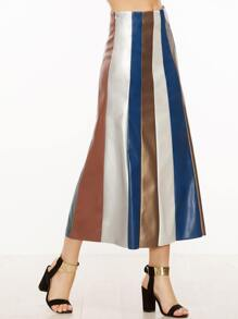 Color Block Faux Leather Paneled Skirt