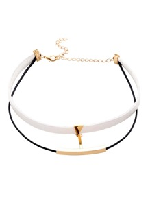White Double Layer Metal Trim Choker Necklace