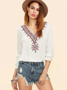 White Embroidered V Neck Pleated Back Top