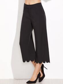 Black Scalloped Hem Crop Wide Leg Pants