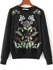 Black Floral Embroidery Round Neck Sweatshirt