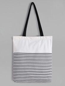 White Striped Canvas Tote Bag With Black Strap