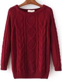 Burgundy Cable Knit Raglan Sleeve Sweater