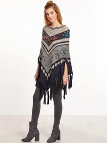 Geometric Pattern Slit Side Fringe Poncho Sweater