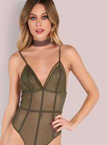 Strappy Mesh Cage Bodysuit OLIVE