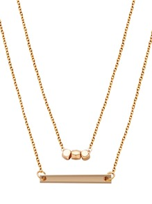 Gold Plated Geometric Horizontal Bar Pendant Necklace